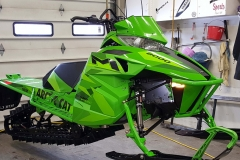 Probably our most controversial mountain snowmobile to date.  It is heavy, yes, but is airy feel through the bars make the lime green Limited a liar as to its heft. But when stuck, a rider will know its weight.