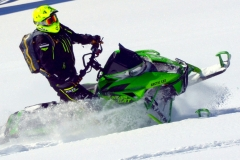 The Mountain Cat is narrowed-up, call it cinched in at the waist, to challenge the narrow mountain snowmobiles from the other manufacturers. The MC is silky smooth in the pow pow.