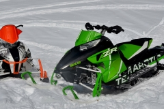 Two ZR 8000s, the Limited (L) and RR (R) for Race Replica. These trail burners and bend straighteners are fast-attack snowmobiles that will satisfy the most power-hangry (hungry plus angry) riders.