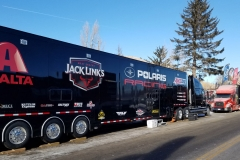 Judnick and Polaris racing has a state-of-the-art support trailer. Note its many sponsors.