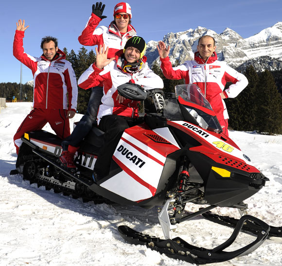Ducati MotoGP Team on a Snowmobile