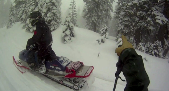 Snowmobile Skiing