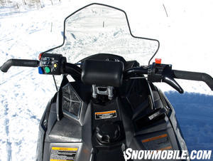 Rush's rider-eye view is mindful of over-the-bars view you have on Ski-Doo's REV XP.