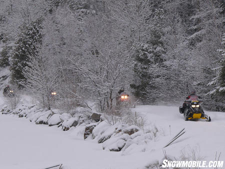 Old rail beds make very scenic snowmobile trails in Ontario.