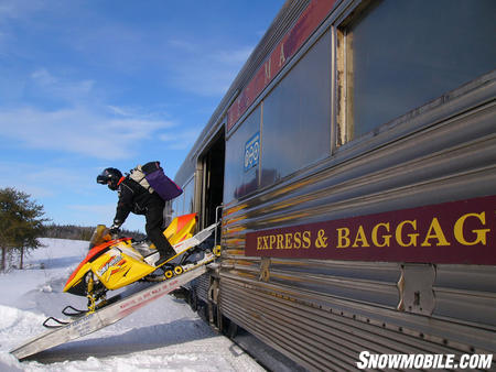 Unloading from Ontario�s famous Algoma Snow Train.