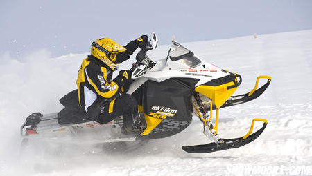 Snocross breeding highlights the 'spring only' MXZ X-RS racer replica.