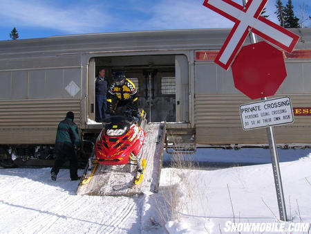 Unloading from the Snow Train.