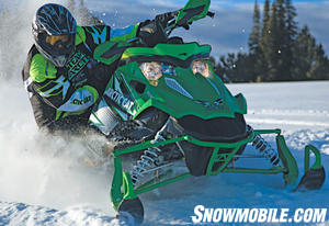 Race-quick steering gives the Sno Pro 500 an edge in the turns.