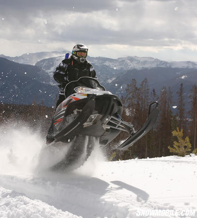This Arctic Cat M8 shows off its new legs, boasting 163 horsepower.  Even riding at 10,000 feet in Grand Lake, Colorado we noticed a huge improvement from last year.