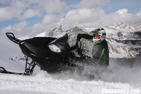 The Mountains near Grand Lake Colorado became a beautiful backdrop for our snowmobile evaluation.  The engineers at Arctic Cat made improvements to the 800 motor, increasing its horsepower by 10 percent.