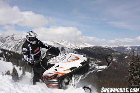 The Arctic Cat M8 is arguably the best all around mountain snowmobile because of its light weight, power, and ease of sidehilling.  This Limited Edition M8 quickly became a favorite.