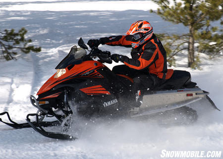 Also a rider-forward based model, Yamaha�s Nytro looks almost stout compared to the Ski-Doo and Cat.