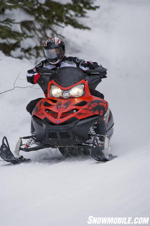 Polaris IQ rear suspension offers nearly 14-inches of travel for a controlled ride.