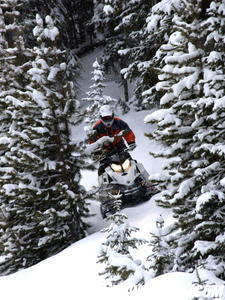Light and nimble, Ski-Doo's TNT maneuvers easily through snowpacked backwoods.