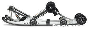 Yamaha tipped the slide rails 6-degrees to give the 144-inch tracked sled short track handling and added clicker shock tunability. 