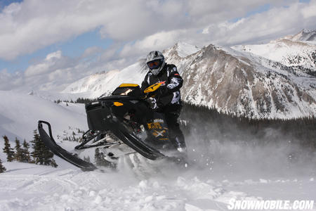 Even at 11,000 ft in the Colorado Rockies, the Renegade Backcountry X could catch big air.
