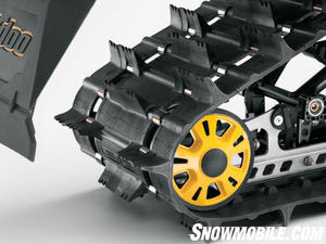 With its 16-in. width and 1.75-in. tall lugs, the PowderMax track provides flotation and grip for off-trail exploring.