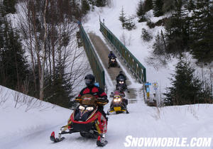Snowmobile bridges cross most major rivers.