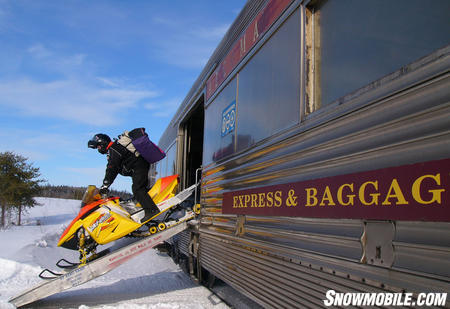 Transport your sled north on the Snow Train from the Sault.