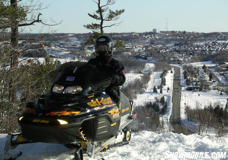 You can ride your sled from your hotel right to the trails.