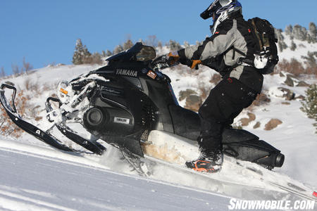 The Yamaha Nytro shows that it too can put its power to the snow leaving the skis dangling in the air.