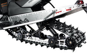 The Assault 144 rear suspension shows off the aggressive powder track.