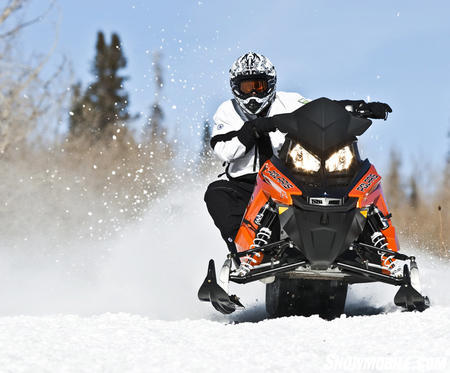 "This bright orange highlights the ""snow check"" 800 Switchback Assault 144."