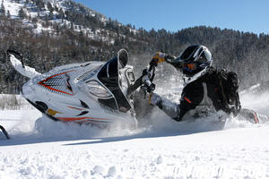 Even as big as the M1000 is it is still one of the easiest snowmobiles to cut a rug with.