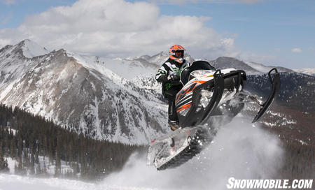 Even with a 163 in track the M8 can get plenty of air. The Arctic Cat M8 encourages a rider to gain more confidence in their abilities.