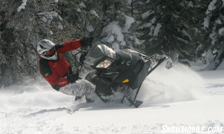 Showing off the Ski-Doo Summit�s new sidehilling capabilities.