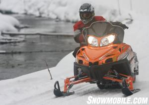 The Arctic Cat Crossfire 8's adjustable 42 to 44-inch front end is well suited for running high-speed corners.
