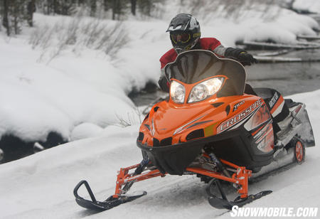 The Crossfire�s 141-inch Cobra track offers plenty of traction on the trail, but seems a little inadequate for mountain riding.