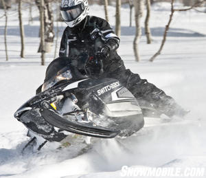 The 600 Switchback�s Cleanfire Twin has plenty of pop to get air off sharp-edged moguls.