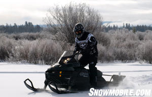 The power of Rotax' 600cc E-TEC twin pulls the Tundra Xtreme through backcountry snows.