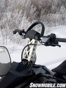 Ski-Doo engineers fitted the Xtreme with a curved bar and high riser for deep snow travel.