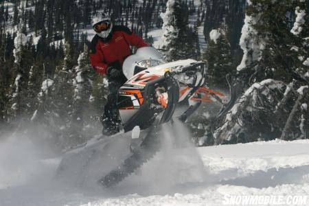 Mountain test rider Kevin Allred stares down the crowd as he busts out a few cold ones on the all-powerful M1000.