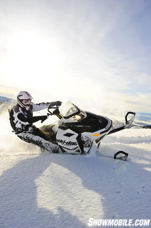 Ski-Doo�s premium Summit X comes in a white and black configuration.