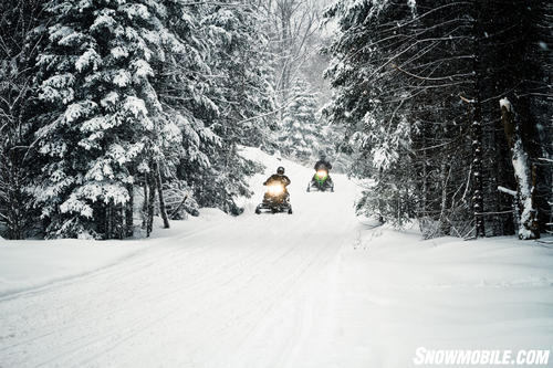 Freshly Groomed Snowmobile Trail