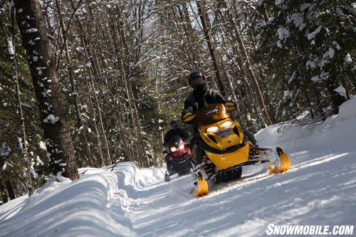 Freshly Groomed Snowmobile Trail