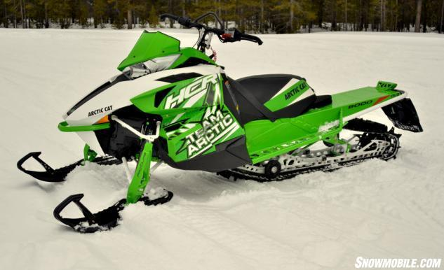 wide-spaced A-arms makes the M8000 HCR a bold-statement snowmobile