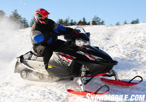 Polaris continues the success of its IQ 600 models, which Snowmobile.com senior editor Jerry Bassett tests here in northern Minnesota.