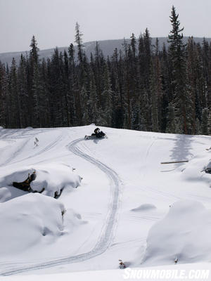 Grand Lake is a snowmobiler's playground.