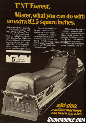 In this 1974 advertisement, Ski-Doo promoted the Everest�s five extra inches of track on the snow as increasing flotation in powder conditions.