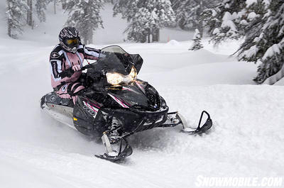 You can opt for pink graphics, but this extended track Polaris is no 'girly-girl' sled.