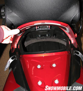 You�ll find ample rear storage for a drive belt and gear.