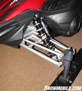 There is up to 9-inches of travel from Yamaha�s double wishbone suspension with clicker shocks.