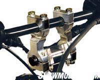 Using handlebar risers like these from High Performance Engineering makes for a more comfortable 'cockpit'.