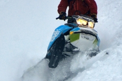 165 Freeride is all about the sidehills, the deep powder and long pulls. Yes, it is a big hit snowmobile, but a deep powder player as well.