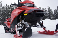 With a narrow and tall stance, the Summit X, as well as the Freeride, are deep powder savvy. Shown is the Fox 1.5 Zero QS3-R front shocks as an accessory.