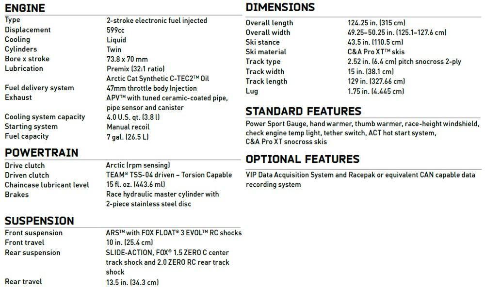 Arctic Cat ZR 6000 R SX Specs